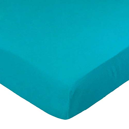 SheetWorld Fitted Portable / Mini Crib Sheet - Teal Jersey Knit - Made In USA ()
