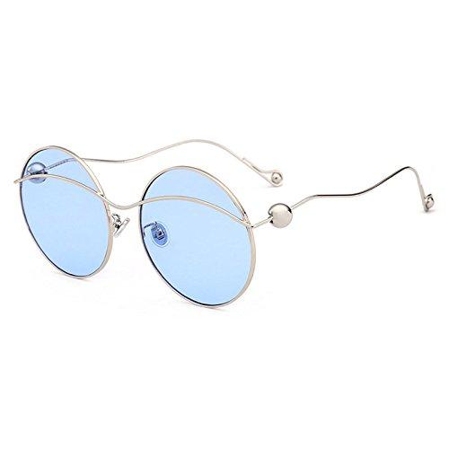 Frame Oversize de G de Gafas Sol para curvadas Gafas Sombra Sol Perla F Mujeres Moda piernas Mujer de Burenqi de Redonda Gafas Rtzq8wR