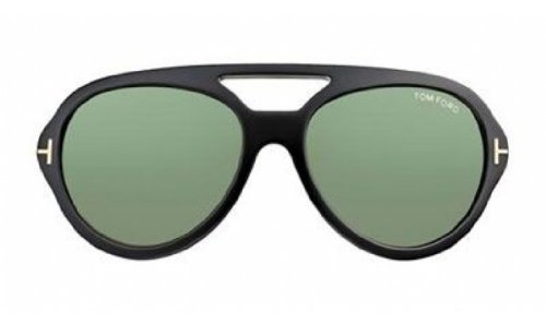 Tom Ford Sunglasses TF 141 Henri - 01N Black (Green Lens) - 57mm by Tom Ford