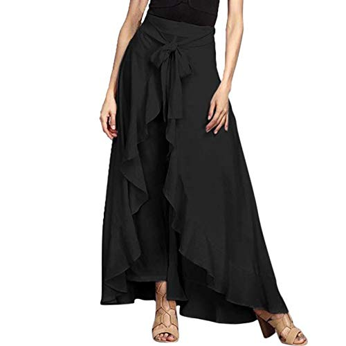 Color : Black, Size : XL MTOFAGF Girls Summer Fashion Tie-Waist Lace-up Loose Ruffled Palazzo Trousers MTOFAGF Brings You The Best