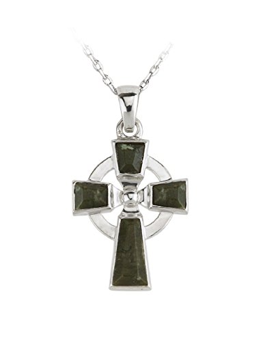 Failte Celtic Cross Necklace Sterling Silver and Connemara Marble Irish Made ()