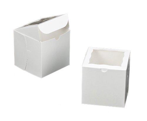 Dress My Cupcake Square Window Cupcake Box with Lid, White, Set of 100