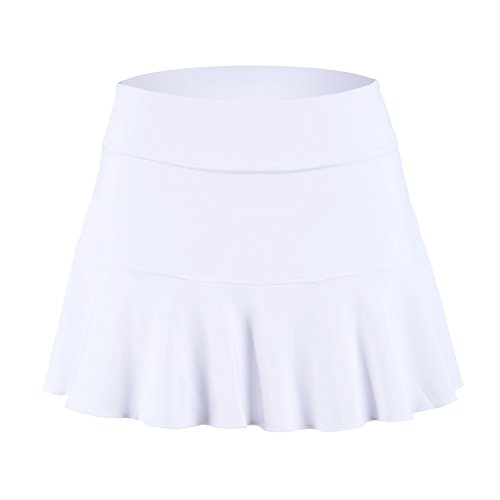 32e-SANERYI Women's Basic Elastic Tennis Skirt with Shorts Athletic Skort(sk25,M,White)