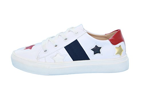 Image of HOO Girls (Little Kid/Big Kid) Stars Design- Laceup Leather Fashion Sneakers, White, Silver