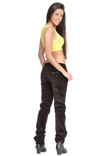 Pantalon en Velours Côtelé Slim/Skinny/Stretch - Marron Foncé 40