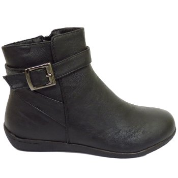 Womens Black Winter Comfort Lace-Up Low Wedge Ankle Ladies Boots ...
