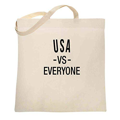 USA vs Everyone Patriotic Sports Fan 4th of July Natural 15x15 inches Canvas Tote Bag]()