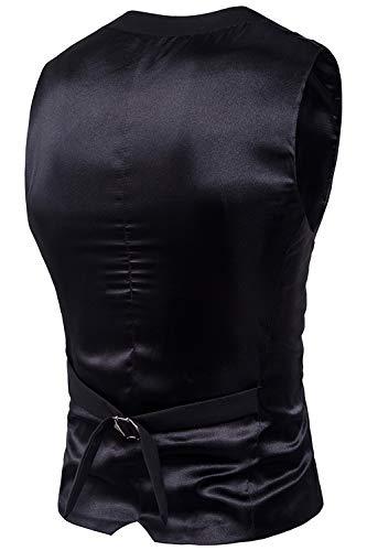 Col Costume D'affaires Hommes Gilets Décontractée Noir V Tops Manches Sans Simgahuva Bouton OFqBwZx