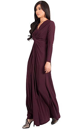Wine Dresses Koh Winter Maxi Womens Flowy Fall Sleeve Long Gown