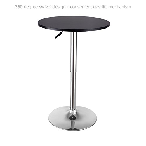 Modern Sleek Design Round Wood Bar Table Height Adjustable 360 Degree Swivel Durable Chromed Steel Base Kitchen Dining Room Home Office Furniture - Black #1640a1 (Fl Melbourne Furniture Bedroom)