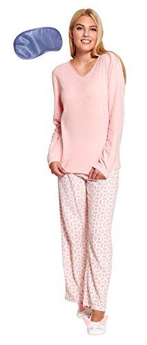 Mujer Suave Cálido Para Invierno Cómodo Lana Larga Conejo Conjunto Pijama Pink with Rabbit Slippers