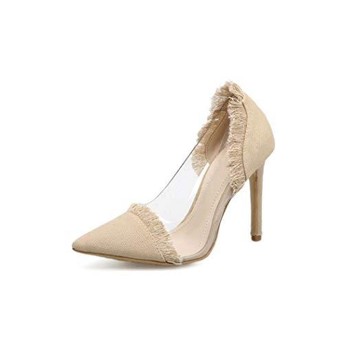 Women Denim Sandals Pointed Toe Sexy High Heel Sandals Hot Tassel,Ivory,4