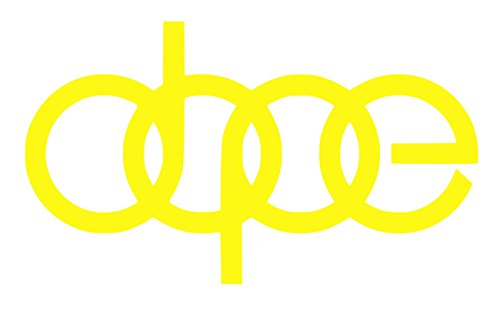 UR Impressions BYel Dope Audi Logo Decal Vinyl Sticker Graphics for A3 A4 A5 A6 A8 Allroad S4 S5 S6 S7 RS 3 4 5 7 TT R8 Q3 Q5 SQ5 Q7 Car SUV Wall Window Laptop|Bright Yellow|7 X 4.1 Inch|URI232-BY ()