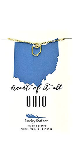 Lucky Feather Ohio Shaped State Necklace, 14K Gold-Dipped Pendant on Adjustable 16