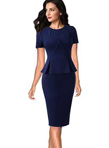 (VFSHOW Womens Pleated Crew Neck Peplum Wear to Work Office Sheath Dress 532 BLU S)