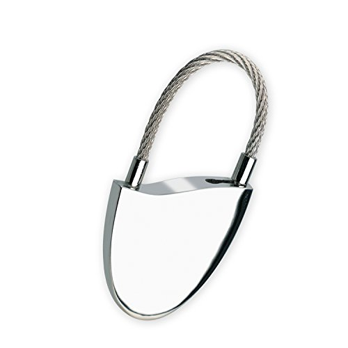 Lancelot Personalized Keychain with Cable Closure and Hand Polished Nickel Finish -