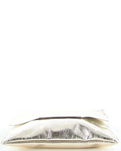 histoireDaccessoires - Clutch de Cuero de Mujer - PO126923GI-Orlando Dorado claro