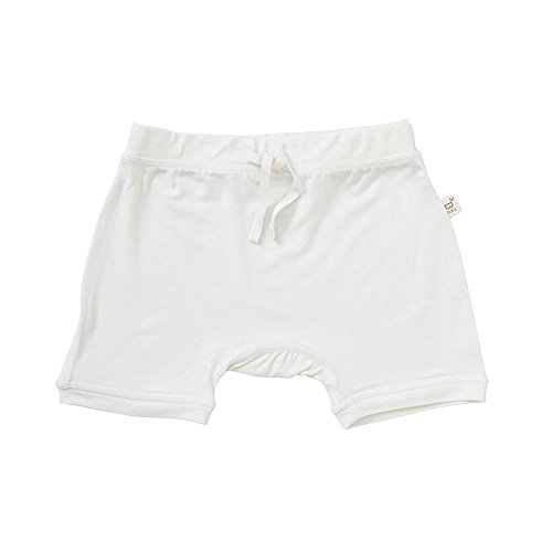 Boody Body Baby EcoWear Pull On Shorts - Soft Drawstring Infant Short Pants made from Natural Organic Bamboo - Soft Breathable Eco Fashion for Sensitive Skin - Chalk White, 6-12 months