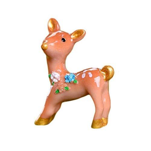 Fan-Ling 1PCS Merry Christmas Mini Deer Statue Resin Craftwork Garden Miniature Micro Landscape Decor,Mini Craft Landscape Decoration,Creative Crafts,ResinMicro Landscape (A)