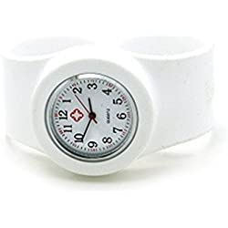 Vavna Silicone Nurse Watch -Slap On Watch -White - Adult Large Size