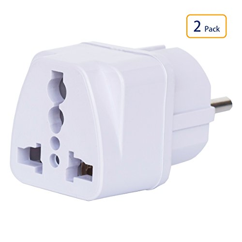 Price comparison product image Universal Power/Electrical AC Wall Plug Adapter Type E/F Power Converter Travel Charger Adapter for Europe Germany France Russia Egypt Finland Belarus Austria Belgium Italy Korea Poland & more 3 PCS W