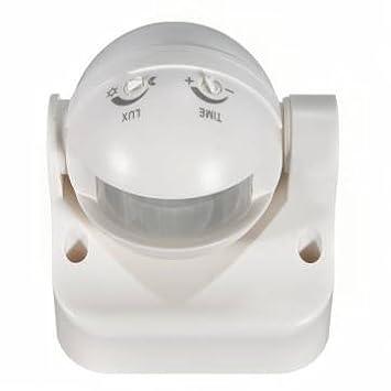 Exterior 180 grados de Seguridad PIR Sensor de movimiento detector de interruptor, color blanco