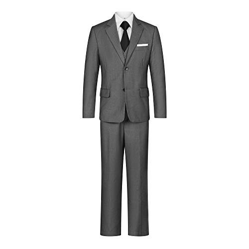 Flyme Toddler Kids Boys Suits 5 Piece Slim Fit Suit for Boys Grey Size -