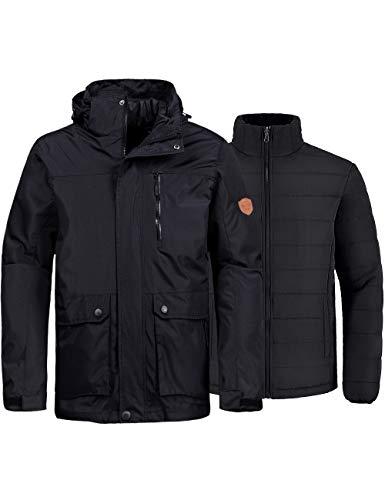 Wantdo Men's 3-in-1 Ski Jacket Waterproof Winter Snow Coat Windproof Puffy Liner