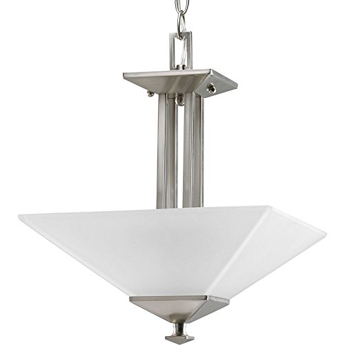 Progress Lighting P3597-09 2-Light Semi-Flush Fixture In Square Etched Glass with Craftsman and Mission Chain and Ceiling Mounts Both Included, Brushed Nickel (Mission Ceiling Fixture Semi Flush)