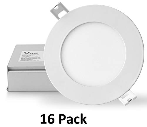 QPLUS 4 Inch 10W LED Recessed Lighting (5000K Day Light, 16 Pack), Canless Downlight Kit with Junction Box, Dimmable, 750 lm, Energy Star + ETL Listed ()