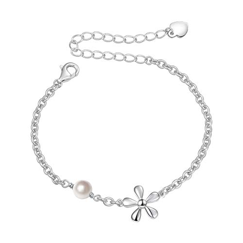 SILVER MOUNTAIN S925 Sterling Silver Jewelry Flower Charm with Freshwater Cultured Pearl Adjustable Chain Link Bracelet Gift For Teen Girls, Little Girls, Children