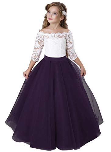 Flower Girl Dress Kids Lace Pageant Party Christmas Ball Gown Dresses (Size 8, Plum) -