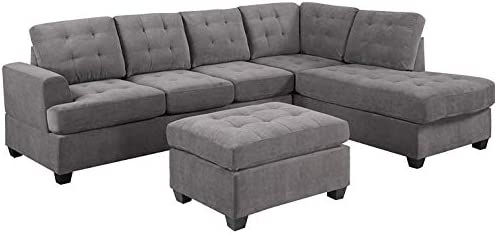 Sensational Mooseng 3 Piece Sectional Set With Chaise Lounge And Ottoman Mid Century Modern Living Room Furniture Sofas Gray Bralicious Painted Fabric Chair Ideas Braliciousco