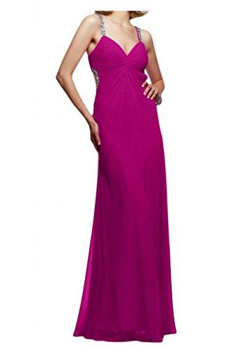 Toscana sposa donna Rueckenfrei Chiffon sera vestimento giovane sposa un'ampia lontano dalla lunghezza Party ball vestimento viola 34