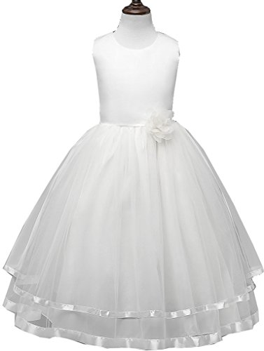 - Shiny Toddler Little Girl Princess Wedding Flower Girl Birthday Party Long Dress,2 to 3(Size Tag=110),White