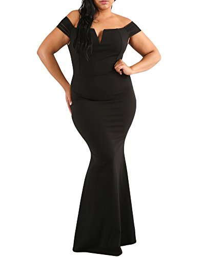 - Lalagen Women's Plus Size Off Shoulder Long Formal Party Dress Evening Gown BlackThick XXL