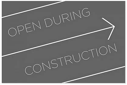30x20 CGSignLab Basic Black Window Cling 5-Pack Open During Construction