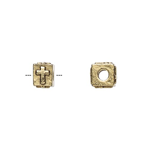 Bead antique gold-plated pewter (tin-based alloy) 8x6mm rectangle with cross 3mm hole