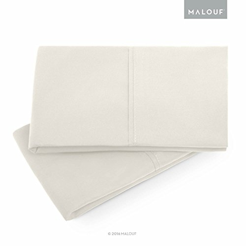 MALOUF Double Brushed Microfiber Super Soft Luxury Pillowcase Set - Wrinkle Resistant - Queen Pillowcases - Set of 2 - Ivory