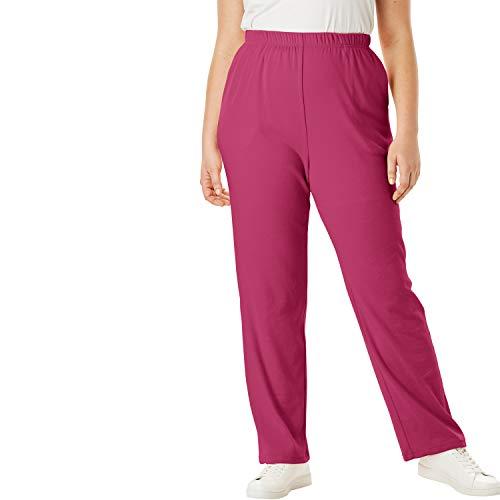 Roamans Women's Plus Size Soft Knit Straight-Leg Pants - Very Berry, ()