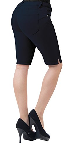 HyBrid & Company Super Comfy Stretch Bermuda Shorts B43308X Navy 18 ()