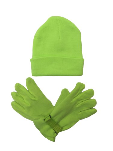 Adult Fleece Gloves (Mens/Womens Warm Beanie Winter Hat & Glove Set, Neon Colors / Camouflage (GREEN))