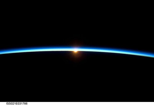 - Quality Prints - Laminated 35x24 Vibrant Durable Photo Poster - Horizon Outer Space Astronautics NASA Cosmonautics Space Flight Space Travel Aerospace Blue Sunrise