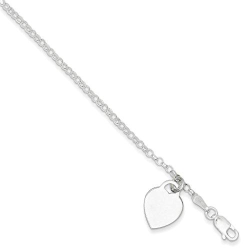 925 Sterling Silver Polished w/ Engraveable Dangle Heart Link Bracelet 7.25