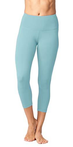 Yogalicious High Waist Ultra Soft Lightweight Capris - High Rise Yoga Pants - Sky Land - - Capris Sky Blue Womens