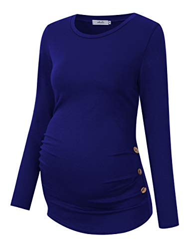 Coolmee Maternity Shirt Side Button and Ruched Maternity Tunic Tops Maternity Long Sleeve T-Shirts -