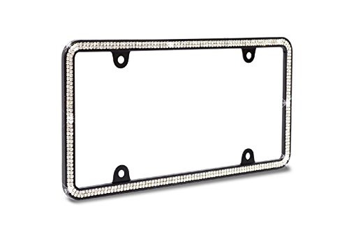 JR2 Brilliant Sparkling Crystals Black Metal License Plate Frame+Free Cap+Free Screw (Black Frame+White -