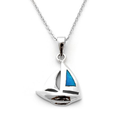 Beauniq Solid Sterling Silver Rhodium Plated Simulated Blue Opal Sailboat Pendant