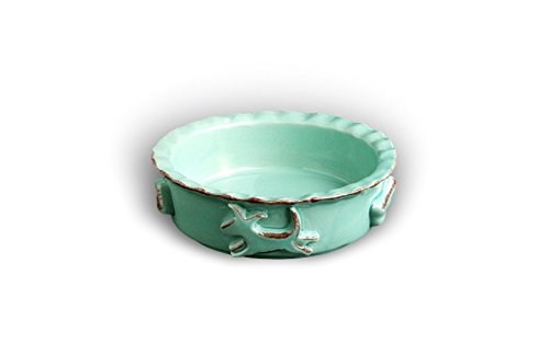 Carmel Ceramica PDSA3001 Dog Food/Water Bowl, Aqua/Green, (Green Ceramic Water Fountain)