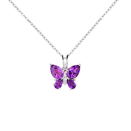 Aurex Natural and Certified Diamond Amethyst Butterfly Pendant in 14K Solid White Gold |1.78 Carat Amethyst and 0.04 Carat H-I Color SI Clarity Diamond Butterfly Pendant with Chain